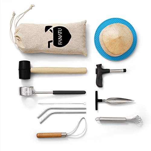Coconut Opener Set for Young Coconut Opener Kit by FANATU – Premium Food Safe Stainless Steel...