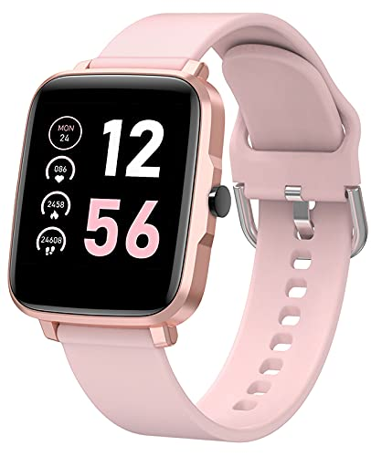 Smart Watches for Women, Android Fitness Watch with Blood Pressure and Heart Rate Monitor, Temperature, Menstrual Tracker, DIY Faces, 11 Sports, Weather, Notifications, Square, Rose Gold and Pink