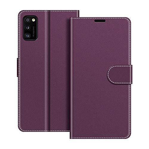 COODIO Handyhülle für Samsung Galaxy A41 Handy Hülle, Samsung Galaxy A41 Hülle Leder Handytasche für Samsung Galaxy A41 Klapphülle Tasche, Violett