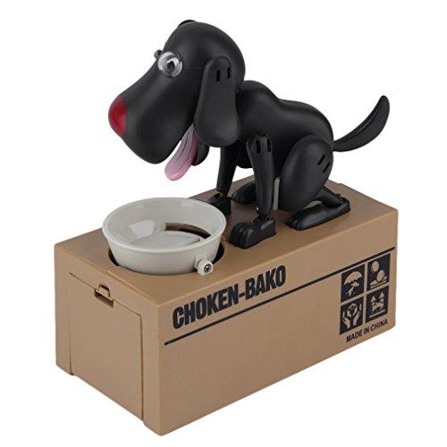 FairytaleMM Durable Robotic Hund Spardose Automatische Stola Coin Money Bank Niedlichen Hund Modell Money Bank Geld Spardose Coin Box (Schwarz)