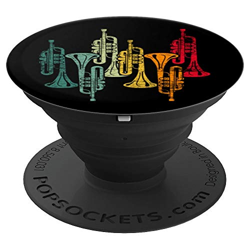 Retro Musician Marching Band Trumpet Player Trumpet PopSockets Grip and Stand for Phones and Tablets
