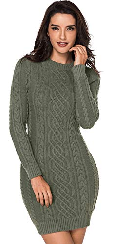 SZIVYSHI Langarm Rundhalsausschnitt Geometrisch Zopfmuster Strickpullover Pullover Sweater Tunika Strickkleid Minikleid Mini Bodycon Etui Etuikleid...