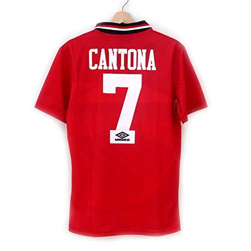 clásico Jersey Antiguo 94-96 Temporada Rojo Local No. 7 Cantona Traje de Manga Corta Uniforme de fútbol-L