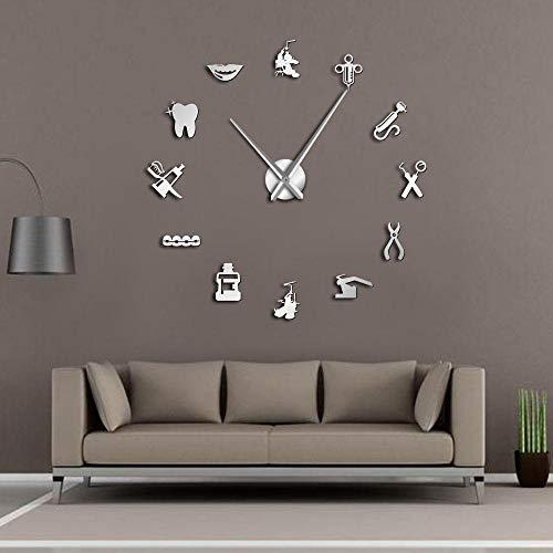 Zahnbürste, Zahnpasta, ZahnarztDIY große Wanduhr 3D visuelle Moderne stille Wanduhr kann wiederverwendet Werden, geeignet für die Dekoration von Zuhause - Restaurant - Büro und Hotel(Silber)