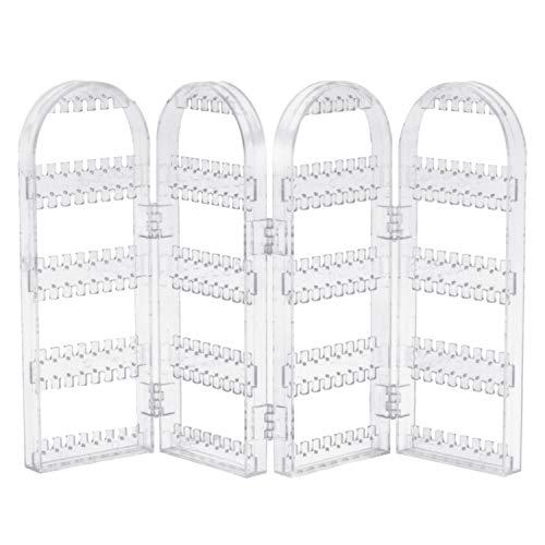 4-Panel Plegable Joyas de plástico Pendientes Espárragos Soporte de exhibición Organizador del sostenedor del estante con 240 agujeros para la ventana de la tienda Centro comercial Hogar transparente
