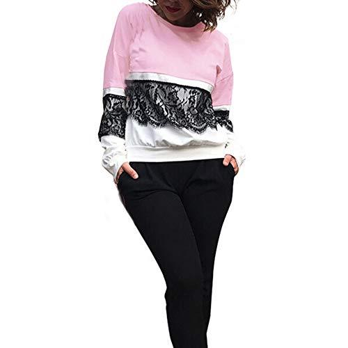 OSYARD Online Damenmode,Bluse Sweatshirt Damen, Frauen Herbst Winter Strickpullover Casual Langarm T-Shirt Tops Spitze Patchwork Pullover Freizeit Rundhals Kleidung Kurze Oberteile (XL, Rosa)