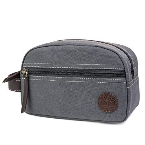 Timberland Men's Toiletry Bag Canvas Travel Kit Organizer, Charcoal, One Size
