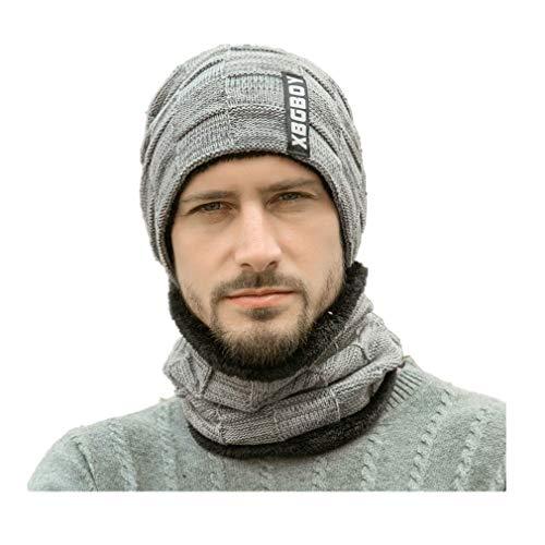 Fliegend Homme Femme Tricoté Chapeau Bonnet Et Écharpe Avec Polaire Slouch Beanie Coton Calotte Chapeau D'hiver De Fine Jersey Tissu
