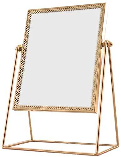 Espejos de aumento de pared Espejo de maquillaje solo lado Espejo de baño de la vendimia 360 ° de rotación de metal Tabla espejo redondo hecho a mano del espejo cosmético compone el espejo for la Dres