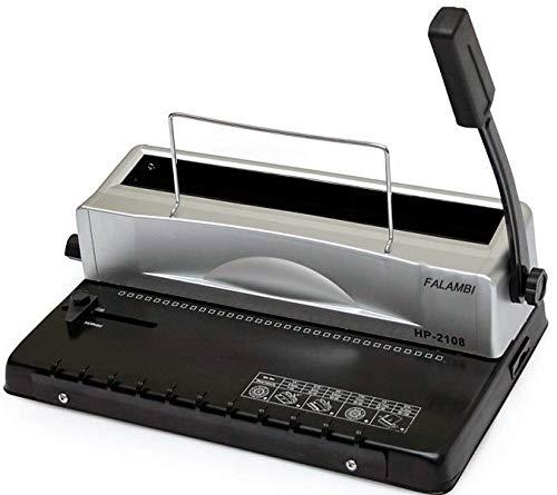 Draht Bindegerät Falambi HP2108, Bindemaschine für Drahtspiralen von 5,5 mm bis 14,3 mm, INKLUSIVE Starterset mit Binderücken und Einbanddeckeln