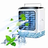 Fuloon Personal Air Cooler,4 in 1 Portable Space Air Conditioner Cooling Fan & Evaporative Spray Humidifier Purifier, Mini USB Desktop ice Fan,7 Colors LED,3 Wind Speeds for Home Room Office Outdoor
