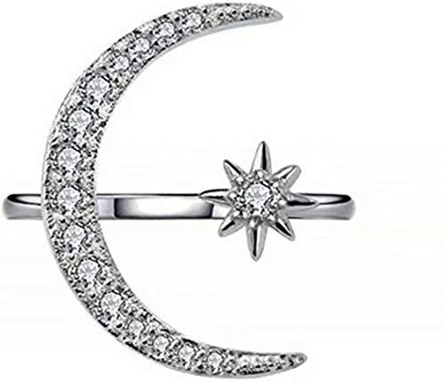 SUNMUCH Crescent Shape Rhinestone Finger Band Half Moon Sun Star Artificial Diamond Inlay Engagement Ring