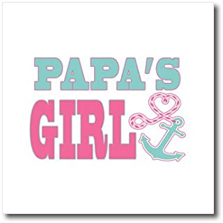 3dRose ht_165888_3 Papas Girl Cute Anchor and Heart Rope Pink and Aqua-Iron on Heat Transfer Paper for White Material, 10 by 10-Inch