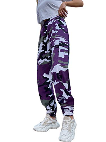 Floerns Women's Elastic Waist Running Hiking Sweatpants Pockets Cargo Pants Gamo S