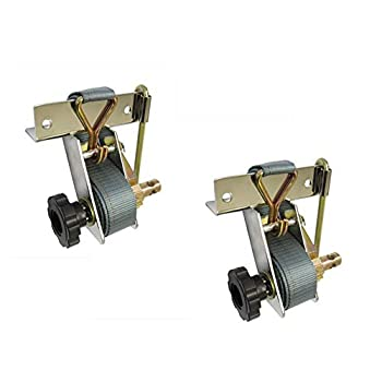 Pair of Polished Stainless Steel Ladder Rack Ratchet Tie-Down Straps Square Mount