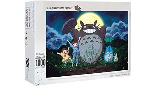 Rompecabezas para Adultos Juego de Puzzle Puzzle de 1000 Piezas de Madera-Alegría Totoro, desafiante estrés Escena Rompecabezas Juego Educativo Alivio de Juguete para Adultos niños