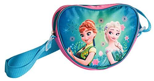 Ragusa-Trade Disney Frozen - Die Eiskönigin, ELSA Anna Olaf, Handtasche Schultertasche Umhängetasche in Herzform (DFL), blau/rosa, 17 x 15 x 5 cm