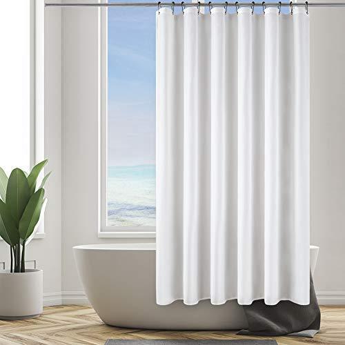 Furlinic Weißer Duschvorhang 180x180cm Anti-schimmel in Badezimmer für Badewanne Dusche Wasserdicht Textile Vorhänge aus Stoff Waschbar mit 12 Schwarz Edelstahl Duschringe.