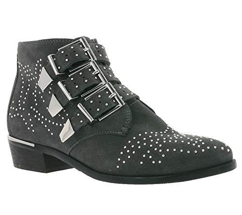Bronx Echtleder-Stiefel Moderne Damen-Stiefelette mit Schnallen und Nieten Boots Schuhe Dunkelgrau,...