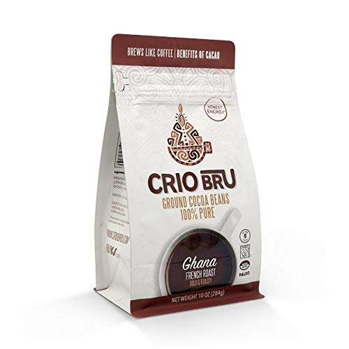 Crio Bru Ghana French Roast 10 oz Bag   Natural Healthy Brewed Cacao Drink   Great Substitute to Herbal Tea and Coffee   99% Caffeine Free Gluten Free Whole-30 Low Calorie Honest Energy