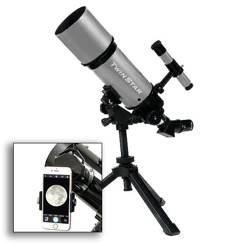 TwinStar 80mm Refractor Telescope 400mm Focal Length f/5.0 F | 25mm & 10mm Kellner Magnification eyepieces, Finding Scope and Tripod Included | Great for Beginners (Smarthphone Adapter Bundle, White)