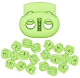Mandala Crafts Cord Lock Cord Stop Tightener Lace Locking End Two Hole Fastener for Drawstrings Shoelaces Bow Cord Bungee Cord 20 PCs Lime Green 0.85 Inch