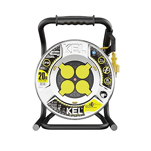 KEL -ELECTRIC - Tambor de cable metálico con 20 m de goma de neopreno de color amarillo, 3 x 1,5 mm2, 230 V/16 A, cable de extensión con 4 enchufes de protección IP44