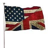 BDGHTDARED Bandera de jardín de color vivo de 3 x 5 pies de temporada de saludo en yardas de vacaciones con ojales de latón para decoración al aire libre/interior/hogar, bandera británica americana