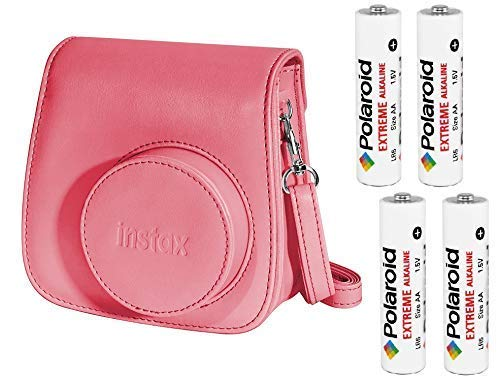 Fujifilm Instax Groovy Camera Case for Instax Mini 8 and 9 - Raspberry with Four AA Polaroid Batteries