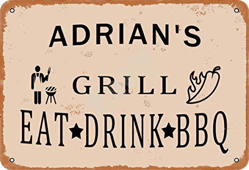 Keely Adrian'S Grill Eat Drink BBQ Metall Vintage Zinn Zeichen Wanddekoration 12x8 Zoll für Cafe Coffee Bars Restaurants Pubs Man Cave Dekorativ
