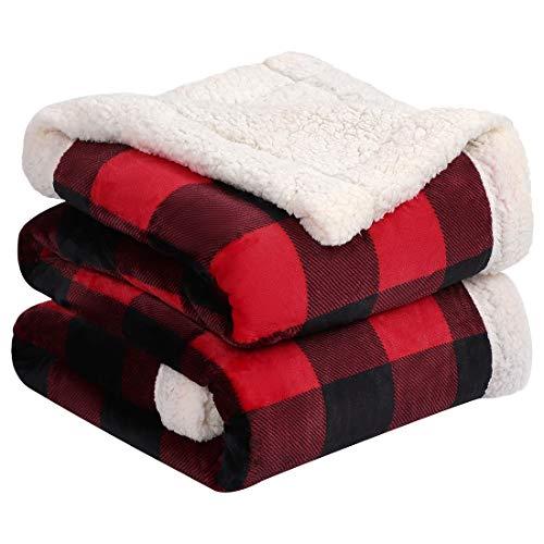 PiccoCasa Sherpa Fleece doppelseitiger Decke Kariert Tagesdecke Dicke Kuscheldecke Warm & Weich Flauschige Flanelldecke als Überwürfe Couchdecke Rot+Schwarz 160x200cm