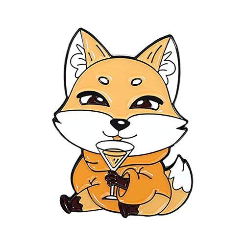 Ruby569y Broche de esmalte con diseo creativo para chaquetas, mochilas, ropa, broche, diseo de zorro con 4 patrones de dibujos animados para disfraz, 3