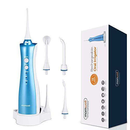 Munddusche Elektrisch Wiederaufladbare Dentale Oral Irrigator Kabellos zur Zahnzwischenraumreinigung, FDA genehmigt, 3 Modi und 5 Jet-Tipps (D50S Munddusche)