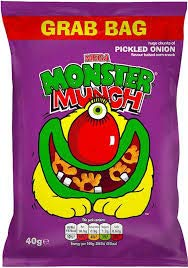 Mega Monster Munch Pickled onion 40g bag x 15 Imported from Ireland