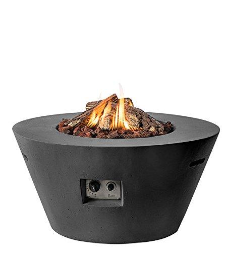 M A N I A Feuertisch für den Garten - Gas Feuerstelle ohne Rauch, Funken, Glut & Asche - Gaskamin Outdoor mit 19,5 kW in Betonoptik schwarz 96 x 96 x 46 cm - Gasfeuerstelle Terrassenkamin Kaminfeuer