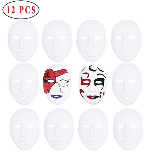Ritte 12 Piezas Máscara Blanca, Máscara Papel Cara Completa Blanca para Fiesta Baile, Mascarada Simple, Decoración Bricolaje, Máscara Pintada a Mano (Estilo Niña)