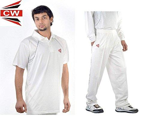 3M C & W Cricket World Herren/Jungen/Youth Matrix weiß Dryfit Uniform Kleid kompletter Anzug Sports Wear T-Shirt weiß halber Ärmel mit voller Länge Hosen-Hose Uniform in weiß wählen Größe, weiß, 40