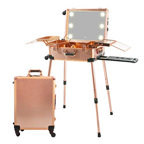 Jula Vance Large Makeup Train Case with Speaker & Code Lock & Full Screen Lighted Mirror & 3 Light Colors Lighted Rolling Cosmetic Organizer, Professional Artist Trolley Studio Free Standing