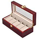 Watch Box,5 Slots Watch Display Case,Wooden Watch Organizer, Jewelry Display Storage with Removable
