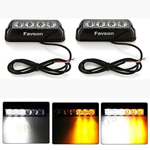 Favson 4 LED Strobe Lights for Trucks Cars Van with High Intensity White&Yellow Emergency Flasher (2pcs)