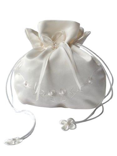 hochzeits-shop-hamburg Brauthandtasche,Zugbeutel mit Perlen u.Blumen Bestickt Maße ca.18 * 14cm