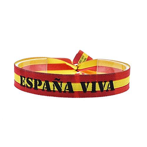 BDM Pulsera con la Bandera de España de Tela, España Viva, Ajustable para Hombre y Mujer.