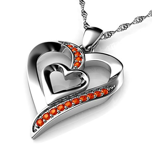 DEPHINI - Heart Necklace - 925 Sterling Silver - Double Love Heart Pendant - Orange CZ Crystals - Fine Jewellery Woman Necklace - 18' Rhodium Plated Silver Chain - A+ Cubic Zirconia - Gifts for Women