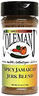 ColemanJ's Spicy Jamaican Jerk Seasoning, 4.1 oz, Certified Organic, Non-GMO, Gluten Free, Low Salt, No MSG
