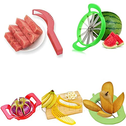 Savani Unique Fruit Combo of Large Watermelon Cutter & Watermelon Slicer Corer Server Scoop with Deluxe Apple Cutter, Premium Mango Cutter and Attractive Banana Cutter (Pack of 5,Multi Color)