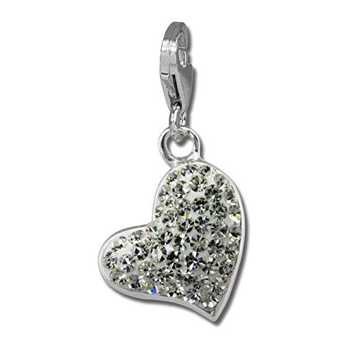 SilberDream GSC543W - Ciondolo a forma di cuore con zirconi bianchi, in argento 925, per braccialetti e collane, orecchini