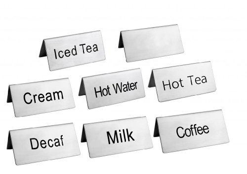 New Star Foodservice 27402 Stainless Steel Table Tent Sign Combo, Includes'Coffee','Decaf','Hot Tea','Iced Tea','Hot Water','Milk','Cream',and Blank, 3-Inch by 1-1/2-Inch, Combo Set of 8
