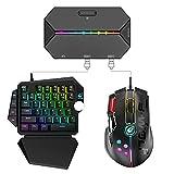Teclado mecánico RGB con cable USB+Joystick Gaming Mouse 12 botones 12000DPI+Conversor de controlador de juegos retroiluminado,adaptador LED TYPE-C/convertidor compatible con PS4/Xbox/Switch+Mouse Pad