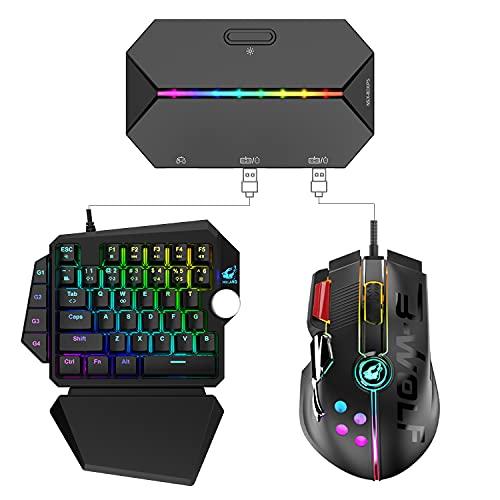 Tastiera da gioco meccanica RGB cablata USB + Joystick Mouse 12 pulsanti 12000 DPI + Adattatore / convertitore retroilluminato TYPE-C per PS4 / Xbox / Switch + Tappetino per mouse (nero)