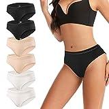 Women's Hipster Panties Lace Underwear Low-Rise Soft Cotton Stretch Bikini Underwear Briefs 6 Pack (Black+Nude+White, XL) -  eletecpro